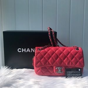 Chanel Coral Pink Caviar Leather Quilted Flap Bag
